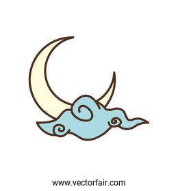 Isolated moon and cloud fill style icon vector design