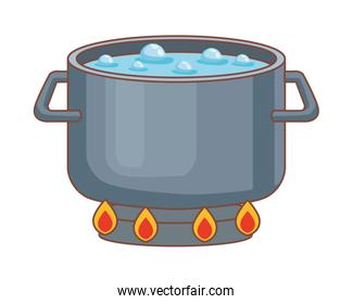 pot boiling water isolated icon