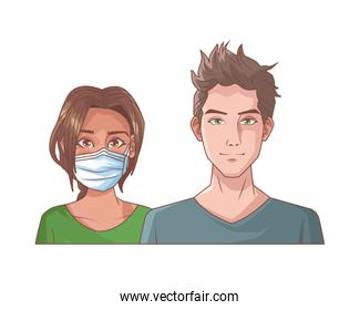 young couple with mouth cap medical accessory