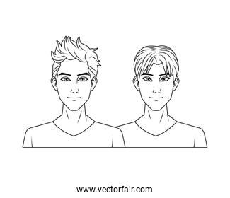 young men friends avatars characters