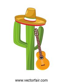 cactus mexican plant with guitar and hat