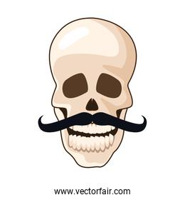 skull with mustache mexican icon