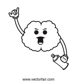 brain with spray paint bottle comic character