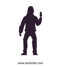 young man with smartphone avatar character silhouette