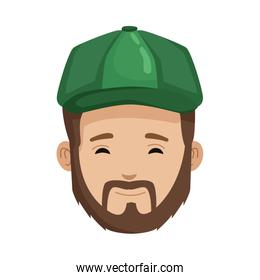 young man with hat head character icon