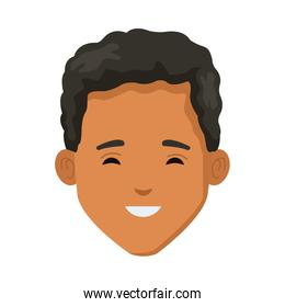 young man afro head character icon