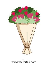 flowers bouquet gift isolated icon