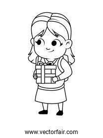 cute little girl with gift, line style icon