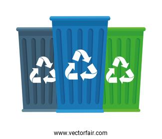 garbage recycle bins isolated icons