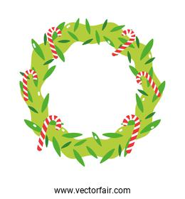 merry christmas wreath candy canes decoration icon