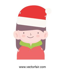 merry christmas girl with hat and sweater icon