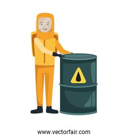 man with biohazard suit and barrel character