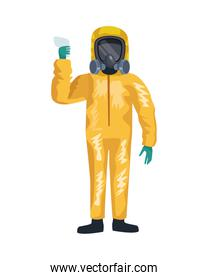 man with biohazard suit character