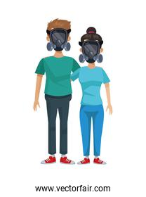 young couple with mask medical equipment