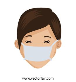 young woman with mouth cap medical accessory