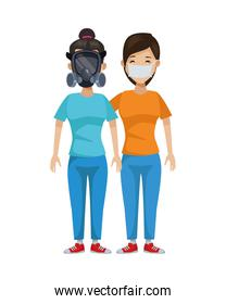 young girls with mouth cap and mask
