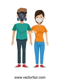 young couple with mouth cap and mask