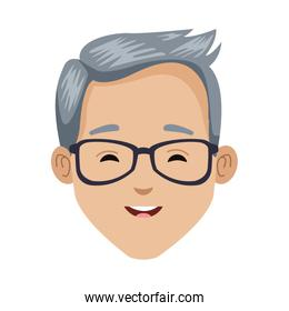 young man with glasses head character icon