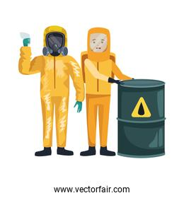 workers with biohazard suits and barrel characters