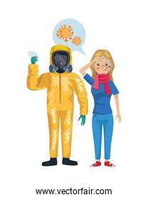 man with biohazard suit and woman sick characters