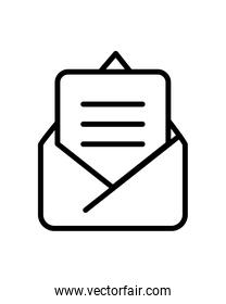 envelope mail open, line style isolated icon