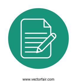 paper document with pen block style icon