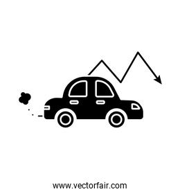 car polluting with arrow down flat style