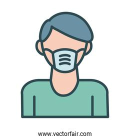 man using face mask accessory fill style