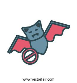 bat animal flying fill style icon