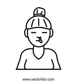 woman with nose flu line style icon