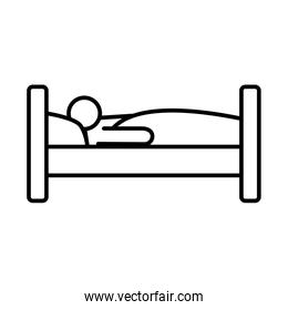 person sleeping in bed line style icon