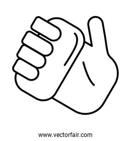 hand with soap line style icon