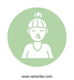 woman with nose flu block silhouette style icon