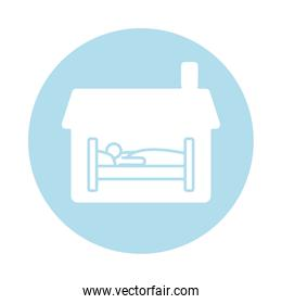 house with person sleeping in bed block silhouette style icon