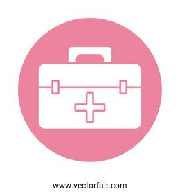 medical kit with cross block silhouette style icon