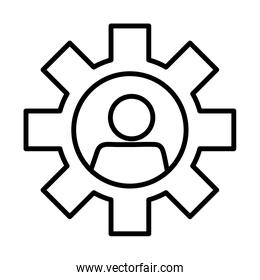 gear with user line style icon