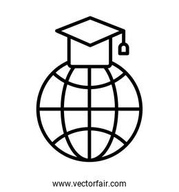 sphere browser with hat graduation line style icon