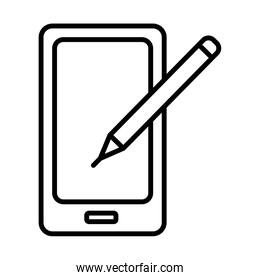 smartphone with pencil line style icon