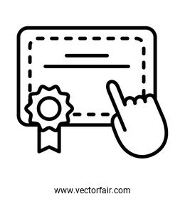 graduation certificate with hand cursor line style icon
