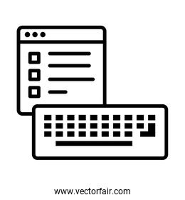 template webpage with keyboard line style icon