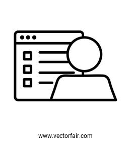 template webpage with user avatar line style icon
