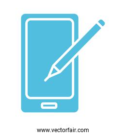 smartphone with pencil silhouette style icon