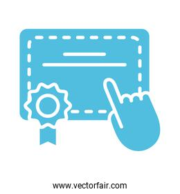 graduation certificate with hand cursor silhouette style icon