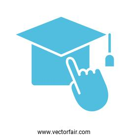 hat graduation with hand mouse cursor silhouette style icon