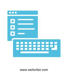 template webpage with keyboard silhouette style icon