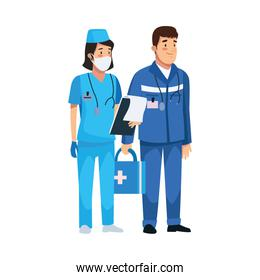 nurse professional with paramedic characters