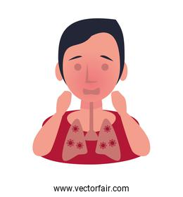 woman sick with failure respiratory character