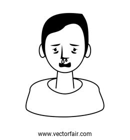 woman sick with runny nose character