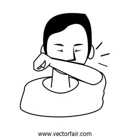 woman sick with dry cough character