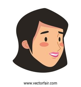 young woman head avatar character